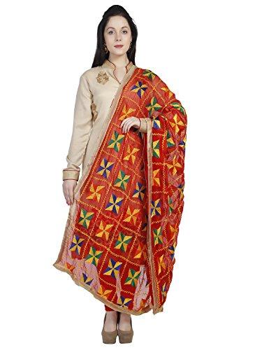 Dupatta Bazaar Woman's Red Phulkari Embroidery Chiffon Dupatta