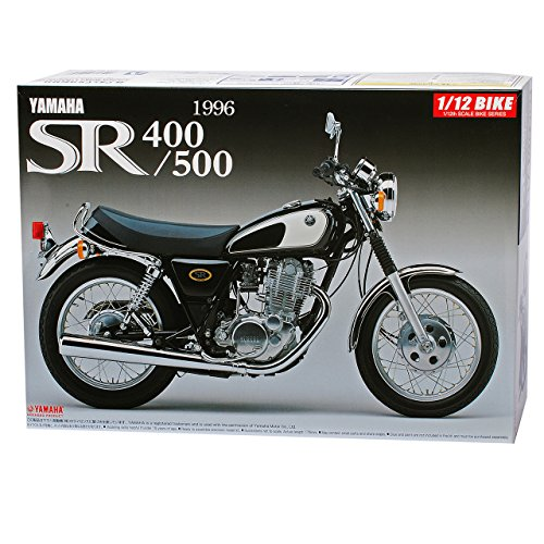 Aoshima Yamaha SR400 / 500 1966 Schwarz 51696 Kit Bausatz 1/12 Modell Motorrad mit individiuellem Wunschkennzeichen