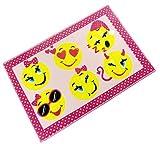 infantil EMOJI EMOTICONOS caritas sonrientes amarillo rosado antideslizante Dormitorio Alfombra 60 x 90cm