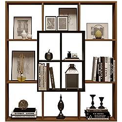 HOMIDEA Mars Bibliothèque - Étagère de Rangement - Étagère pour Livres - Étagère pour Bureau/Salon par Le Design Moderne (Noyer/Noir)