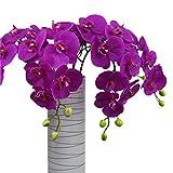 Calcifer 6PCS (9Blütenköpfe/PCs) 100cm Künstliche echtes Touch Latex Phalaenopsis-Orchidee Vorbau Blumensträuße Künstliche Blumen für Hochzeit Party Home Garten Dekoration, dunkelviolett, 100 cm