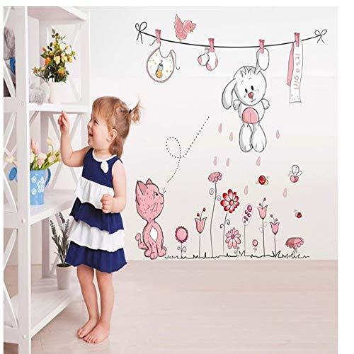 CHENYAN Wandaufkleber Pink Cartoon Cat Bunny Flower Wall Sticker Baby Girl Children Room Home Decoration Teddy Bear Umbrella Classroom Wall Decal,A (Bear Teddy Girl Flower)