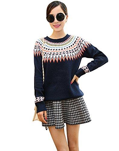 Molly Donne Rhombus Stampato Rotonda Collare Pullover Maglione Blu Marina