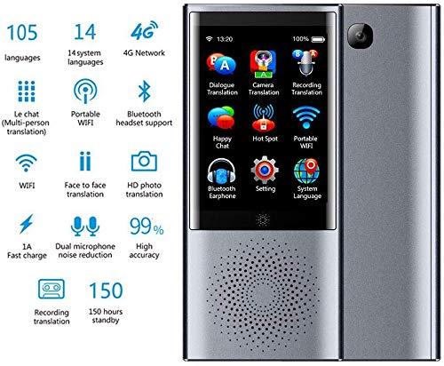 Dispositivo traduttore Lingua, Supporto traduttore traduttore Intelligente per 105 Lingue 4G / WiFi/Offline traduzione istantanea da 8 GB con Touchscreen da 3,0 Pollici