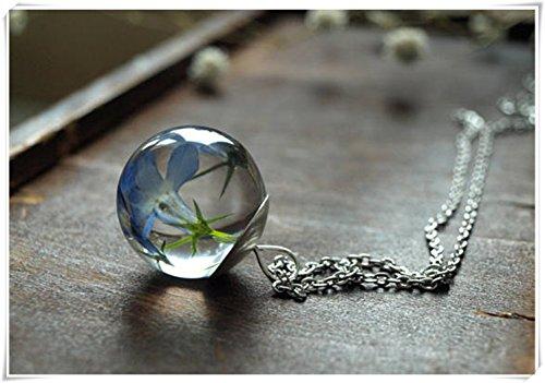 Blau Kugel Halskette, Blau Blumen-Harz, Harz Anhänger Schmuck, Terrarium Halskette, Pure handgefertigt