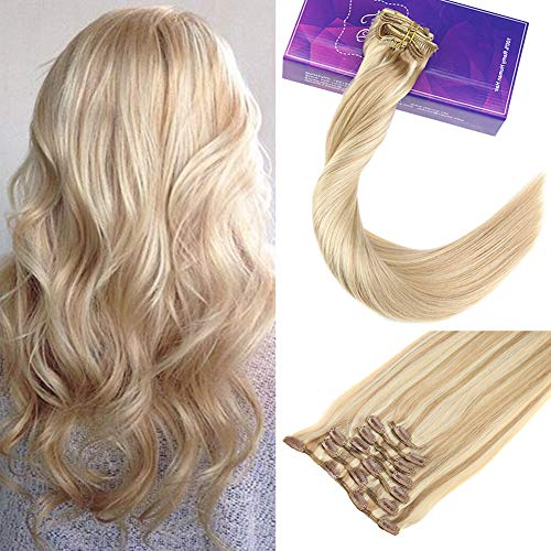 Laavoo 14 pollici clip in natural hair extensions #18/613 biondo cenere highlights candeggina bionda extension clip human hair remy 120 grammi/7 pcs