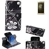 K-S-Trade® Schutzhülle Für Sony Xperia L2 Dual-SIM Hülle 360° Wallet Case Schutz Hülle ''Flowers'' Smartphone Flip Cover Flipstyle Tasche Handyhülle Schwarz-weiß 1x