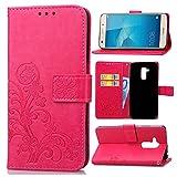 Guran Custodia in Pu Pelle Lucky Clover Flip Cover per Honor 5C Smartphone avere Portafoglio e Funzione Stent Modello di Trifoglio Fortunato Copertura Protettiva - Rosa rossa