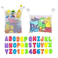 2 x Mesh Baby Bath Toys Storage+6 Ultra Strong Hooks+36 Bath Foam Letters and Numbers. Foam Baby Bathtub Letters Number for Toddlers, Baby, Kids. Organizer Net Bag for Baby Bath Toys, Shampoo & Soap
