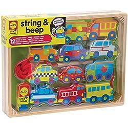 Alex String and Beep - Juego de coches de madera para enhebrar