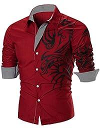 YunYoud Herren Hemd T-Shirt,Männer Hemden T-Shirt Blusen Blume Druck  Oberteile Top Mode Luxus Business Stilvolle Slim Fit Langarmshirt… 6af64d1ce8