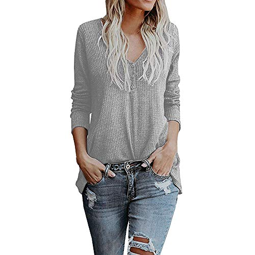 BHYDRY Damen Langarm Bluse Herbst Button Pullover lose Strick Bluse Tops