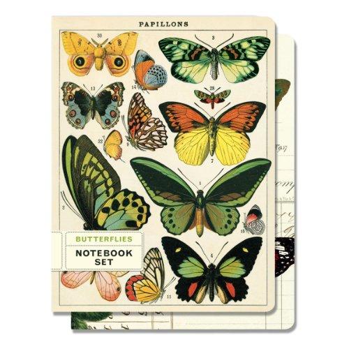 Cavallini - Set di 2 Notebook - Farfalle - Foderato & Grafico Interni - 96 Pagine Per Libro