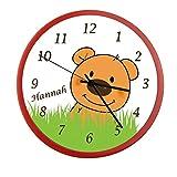 Wanduhr mit Wunsch - Namen für Kinderzimmer ; einzigartige Kinderuhr ; Rahmen rot ; Kinder Wanduhr ohne ticken mit oder ohne Namen auf Wunsch personalisiert ; Uhr - Motiv Teddy Bär