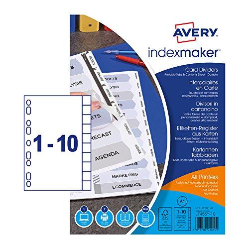 AVERY Zweckform 1812061 Ordner Register in DIN A4 (mit Euro Lochung, 10-teilig, weißer stabilder Karton, blanko Register, Inhaltsblatt und Register zum Bedrucken, für alle Ordner geeignet)