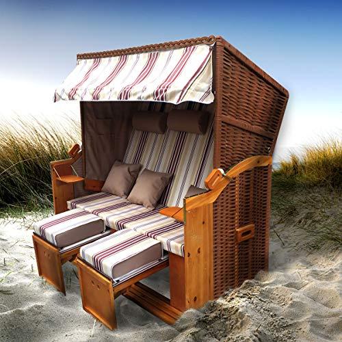 BRAST Strandkorb Ostsee 3-Sitzer 160cm breit Rot Beige gestreift XXL Volllieger incl. Schutzhülle Gartenliege Sonneninsel Poly-Rattan