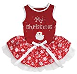 Petitebelle My Christmas Santa Claus Red Cotton Shirt Tutu Puppy Dog Dress (Red Snowflakes Tutu, Medium)