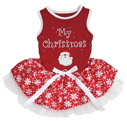 Petitebella Hunde/Welpen Kleidung Kleid My Christmas Santa Claus Xmas RED Baumwolle Schneeflocke Tutu, X-Large, rot (Tutu Schneeflocke)