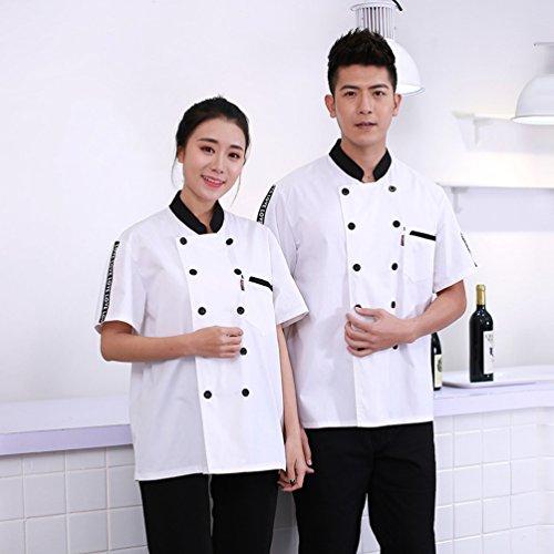 Dooxii Unisex Donna Uomo Estate Manica Corta Giacca da Chef Moda  Traspirante Cucina Mensa Hotel Uniformi Divise da Cuoco Bianca 2XL 5ff42fdb6d64