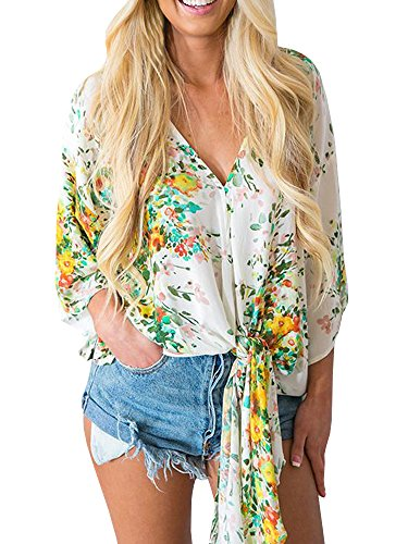 Gemijacka Damen Sommer Kurzarm Blumen Bluse Chiffon V-Ausschnitt Hippie Oberteile Shirt -