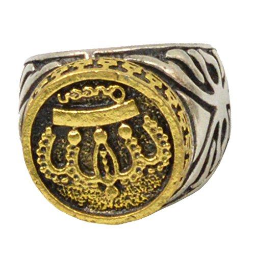 Sullery Religious Jewellery Islamic Muslim Allah Shahada Arabic Gold Silver Zinc Alloy Ring Unisex
