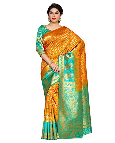 Mimosa By Kupinda Women\'s Art Silk Saree Kanchipuram Style (Latest Designer Sarees /Party wear sarees /New collection sarees) (4155-2154-2D-MST-RMA) Color: Orange