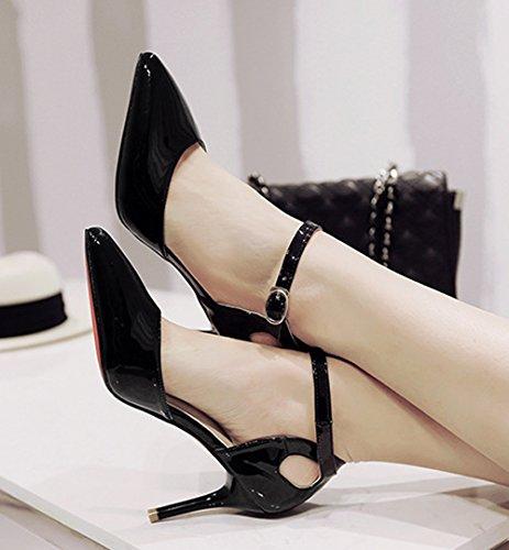 Damen Pumps Spitze Tägliche Riemenschnalle Bonbonfarbe Stilettos Schöne High Heels Schwarz