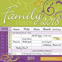 Family Timer Floral 2018 Broschürenkalender: 5 Spalten. Mit Ferienterminen