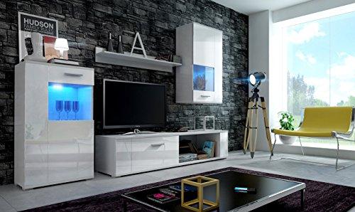 EVE Moderne Wohnwand, Exklusive Mediamöbel, TV-Schrank, Neue Garnitur, Große Farbauswahl (RGB LED-Beleuchtung Verfügbar)