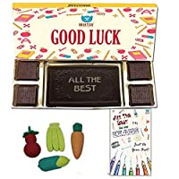 BOGATCHI Good Luck Chocolate Gift Box, Exam Wishes, Dark Chocolate Bar + 4 pcs + Free Best of Luck Exams Card + Fruit Erasers