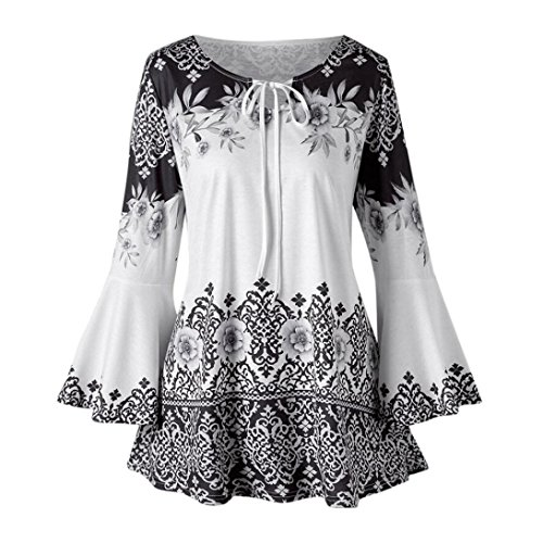 MOIKA Damen Tshirt O-Ausschnitt Locker Mode Frauen Plus Größe Gedruckt Flare Sleeve Tops Blusen Schlüsselloch T-Shirts