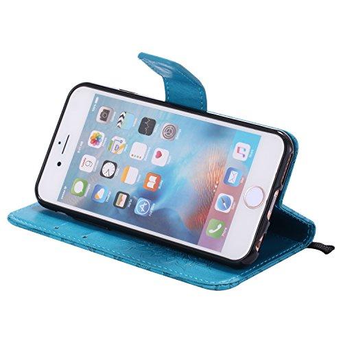 Coque pour iPhone 5 5S 5G / iPhone SE,Housse en cuir pour iPhone 5 5S 5G / iPhone SE,Ecoway Tournesols de motifs en relief étui en cuir PU Cuir Flip Magnétique Portefeuille Etui Housse de Protection C bleu
