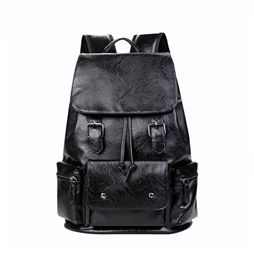 Meoaeo Men'S Casual Bag Laptoptasche Tasche Aus Echtem Leder black