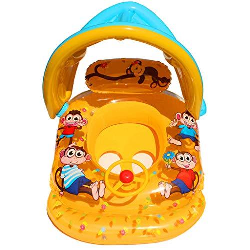 Precioul Baby Schwimmring Baby Schwimmhilfe Baby Pool Schwimmring mit Sonnenschutz - Aufblasbarer Schwimmreifen für Kinder (Gelb)