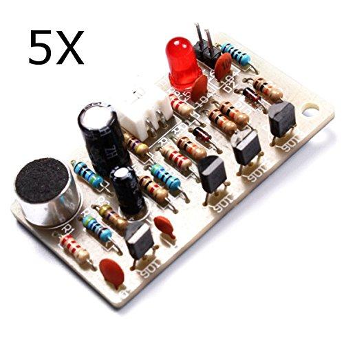 LaDicha Kit Interruttore A Comando Vocale per Comando Vocale 5Pcs Kit Interruttore A Pulsante Sensibile al Ritmo Ad Alta Sensibilità LED