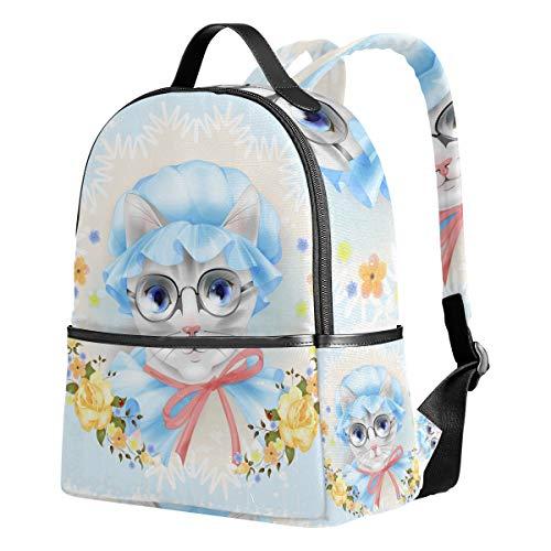 Ahomy Rucksack Vintage Katze Brille Rosen Rucksack Reise Camping Schule Taschen für Mädchen Jungen Frauen