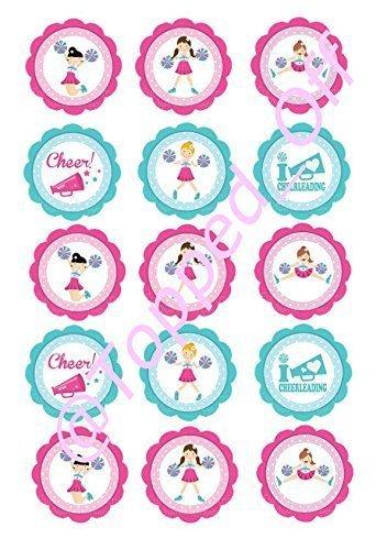 15 x 5 cm vorgeschnittene Runde Cheerleaders essbare Kuchendekorationen (Cheerleader Gedruckt)