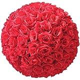 Infashionport 20,3cm Soie de mariage Rose artificielle Boule de fleurs à suspendre Décoration de table, Red, Taille unique