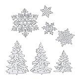 7 Pezzi Natale Fustelle Stencil Metallo Fiocchi di Neve Albero di Natale Stencil per Fai Da Te Scrapbook Album Carta
