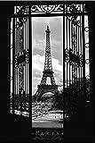 Close Up Paris Poster Eiffelturm (61cm x 91,5cm) + 2 St. Schwarze Posterleisten mit Aufhängung