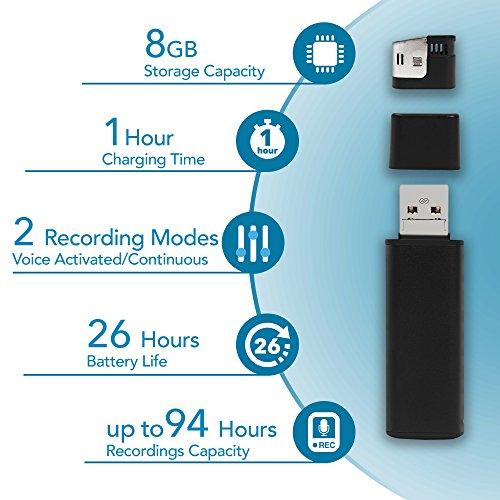 Mini Diktiergerät USB Stick | 26 Stunden Batterie | MicroUSB Stecker Für Smartphone Kompatibilität | 8GB – 94 Stunden Kapazität -Stimmenaktivierter