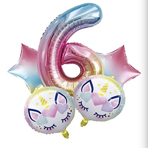 Smaqz palloncino compleanno unicorno, set palloncino gradiente palloncino decorazione compleanno.f