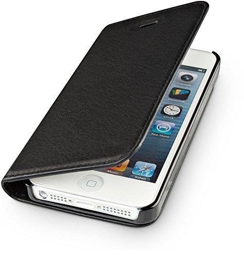 WIIUKA Echt Ledertasche -TRAVEL Nature- für Apple iPhone 5 / 5S / SE -DEUTSCHES Leder- Schwarz, mit Kartenfach, extra Dünn, Tasche, Leder Hülle kompatibel mit iPhone 5/5S/SE Ge-wireless-kamera