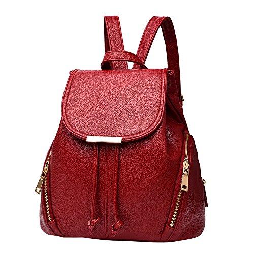 TianWlio Handtasche Damen Mode Schule Leder Rucksack Schultertasche Mini Rucksack für Frauen & Mädchen Wein -