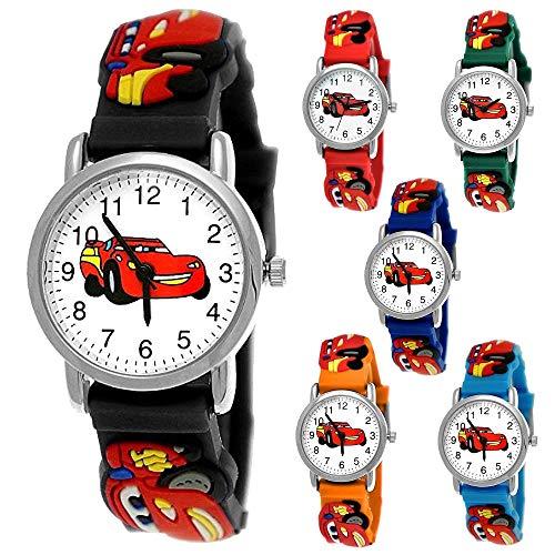 Pure Time Autos Cars Kinder Uhr Jungenuhr Mädchenuhr Auto Kinder Rennauto Armbanduhr Silikon Armband Junge Kinderuhr Schwarz Helblau Blau Rot Orange Grün Sport-Uhr Lern-Uhr 3D (Schwarz - Bunt)