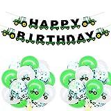 U&X Geburtstag Banner Traktor Girlande Bunting und 15 Luftballons für Farm Dekoration Traktor Party Supplies