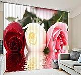 H&M Gardinen Vorhang Tricolor stieg EIN warmes Schatten Tuch Schlafzimmer Hauptdekoration Fenstervorhänge fertig 3D-Druck, Wide 3.6X high 2.7