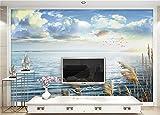 Abihua Carta Da Parati 3D Foto Personalizzata Murale 3D Wallpaper Lago Reed Cielo Blu Nuvole Scenario Decorazione Pittura 3D Murales Carta Da Parati Per Pareti 3D 440Cm X 270Cm