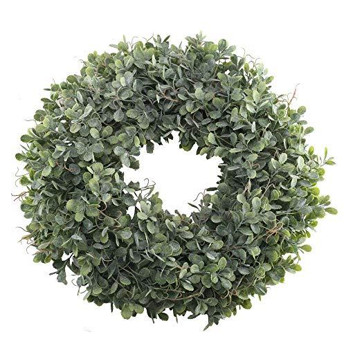 HUAESIN Künstlicher Kranz Buchsbaum Türkranz Buchskranz Grün Kränze Fruehling Kranz Dekokranz Weihnachtskranz für Tür Weihnachten Ostern Kamin Outdoor Ganzjährig Deko 18.5 Zoll (Frühlings-kranz Für Draußen)