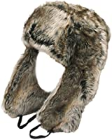 RUSSIAN STYLE TRAPPER HAT in SILVER BROWN FAUX FUR Warm for Winter - 3 Sizes